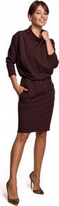 Brązowa sukienka Be z bawełny mini