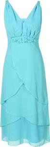 Turkusowa sukienka Fokus z dekoltem w kształcie litery v