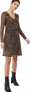 Sukienka V by Very z dekoltem w kształcie litery v mini z długim rękawem