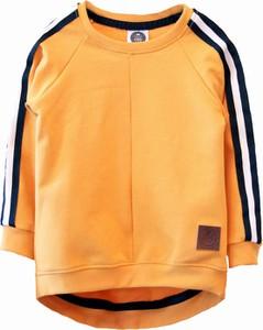 Żółta bluza dziecięca Little Gold King z bawełny dla chłopców w paseczki