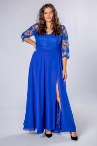 Niebieska sukienka Ptakmoda.com z długim rękawem dla puszystych