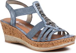 Niebieskie sandały eobuwie.pl na koturnie
