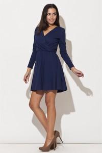Niebieska sukienka Katrus z dekoltem w kształcie litery v z bawełny kopertowa