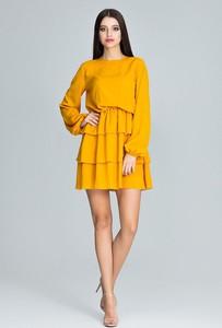 Żółta sukienka sukienki.pl mini z długim rękawem