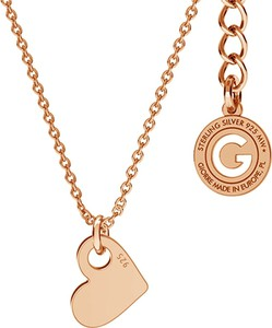GIORRE SREBRNY NASZYJNIK CELEBRYTKA SERCE GRAWER 925 : Kolor pokrycia srebra - Pokrycie Różowym 18K Złotem