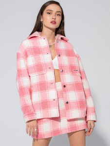 Różowa kurtka LOCAL HEROES z wełny w stylu casual