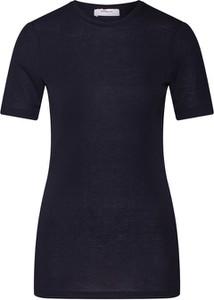 Bluzka Moss Copenhagen z okrągłym dekoltem z tkaniny