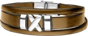 Manoki BA747E brązowa bransoletka męska symbol X