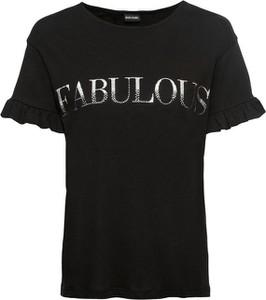 Czarny t-shirt bonprix BODYFLIRT z krótkim rękawem z okrągłym dekoltem w młodzieżowym stylu