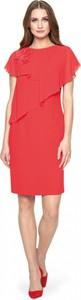 Czerwona sukienka POTIS & VERSO ołówkowa z okrągłym dekoltem z szyfonu