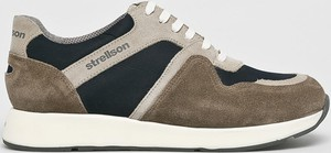 Brązowe buty sportowe Strellson ze skóry sznurowane
