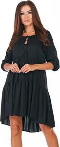 Sukienka Awama mini z okrągłym dekoltem z długim rękawem