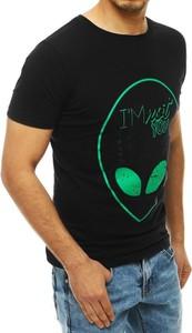 Czarny t-shirt Dstreet w młodzieżowym stylu z krótkim rękawem z nadrukiem