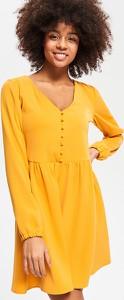 Żółta sukienka Reserved z dekoltem w kształcie litery v z długim rękawem mini