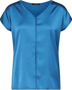 Niebieska bluzka More & More z satyny