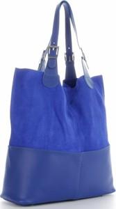 Niebieska torebka GENUINE LEATHER w wakacyjnym stylu duża ze skóry