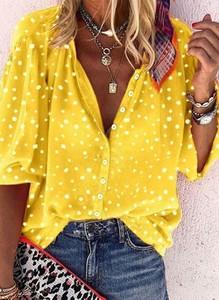 Żółta bluzka Cikelly z dekoltem w kształcie litery v z długim rękawem w stylu casual