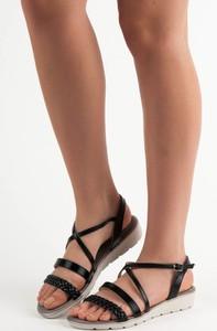 Czarne sandały Czasnabuty na platformie na niskim obcasie w stylu casual