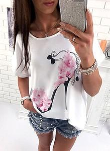 T-shirt Sandbella z krótkim rękawem z okrągłym dekoltem z bawełny