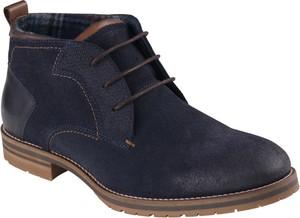 Granatowe buty zimowe Lavard ze skóry sznurowane