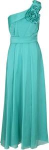 Turkusowa sukienka Fokus asymetryczna