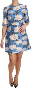 Niebieska sukienka Dolce & Gabbana z długim rękawem mini
