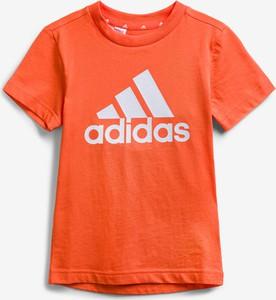 Pomarańczowa koszulka dziecięca Adidas Performance z bawełny