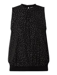 Czarna bluzka edc by Esprit z okrągłym dekoltem z szyfonu