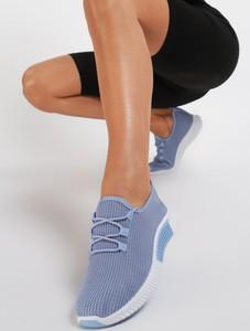 Niebieskie buty sportowe Renee sznurowane z płaską podeszwą