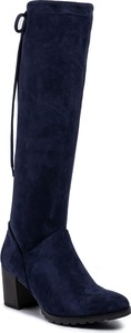 Niebieskie kozaki Caprice na obcasie za kolano na zamek