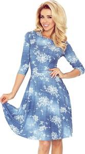 Niebieska sukienka issysklep.pl mini z jeansu z długim rękawem