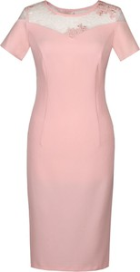 Różowa sukienka Fokus z tkaniny z okrągłym dekoltem w stylu klasycznym