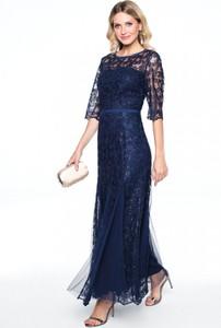 Granatowa sukienka POTIS & VERSO z okrągłym dekoltem z długim rękawem