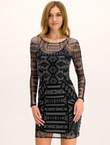 Czarna sukienka Desigual mini z okrągłym dekoltem z długim rękawem