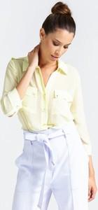 Żółta koszula Guess by Marciano z długim rękawem z tkaniny z kołnierzykiem