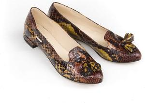Baleriny Zapato ze skóry w stylu glamour z płaską podeszwą