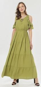 Zielona sukienka born2be z krótkim rękawem
