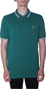 Zielony t-shirt Fred Perry w stylu casual z krótkim rękawem