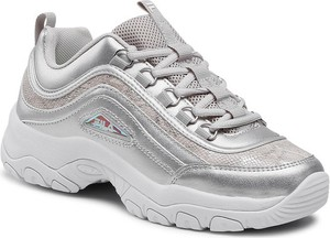 Srebrne buty sportowe Fila sznurowane na platformie