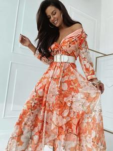 Sukienka Versada maxi w stylu boho z długim rękawem