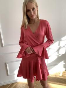 Czerwona sukienka Leimann w stylu casual