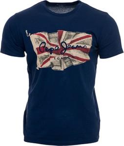 Niebieski t-shirt Pepe Jeans z nadrukiem