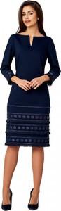 Granatowa sukienka POTIS & VERSO z tkaniny z długim rękawem midi
