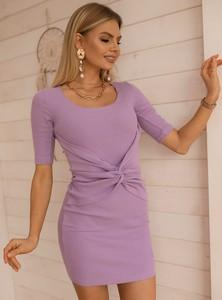 Fioletowa sukienka SELFIEROOM dopasowana mini z krótkim rękawem