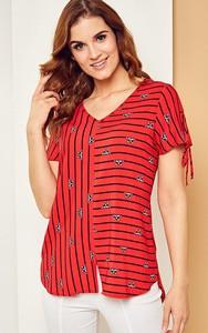 Czerwona bluzka Kaskada z krótkim rękawem
