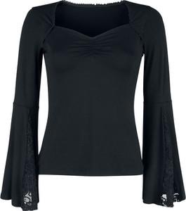 Czarna bluzka Emp z długim rękawem z dekoltem w kształcie litery v