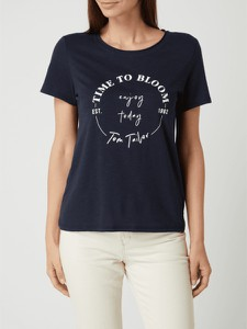 Granatowy t-shirt Tom Tailor z okrągłym dekoltem z krótkim rękawem z bawełny
