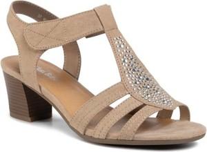 Brązowe sandały Clara Barson na średnim obcasie
