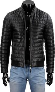 Czarna kurtka Dorjan ze skóry w stylu casual