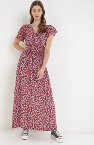 Czerwona sukienka born2be z krótkim rękawem maxi